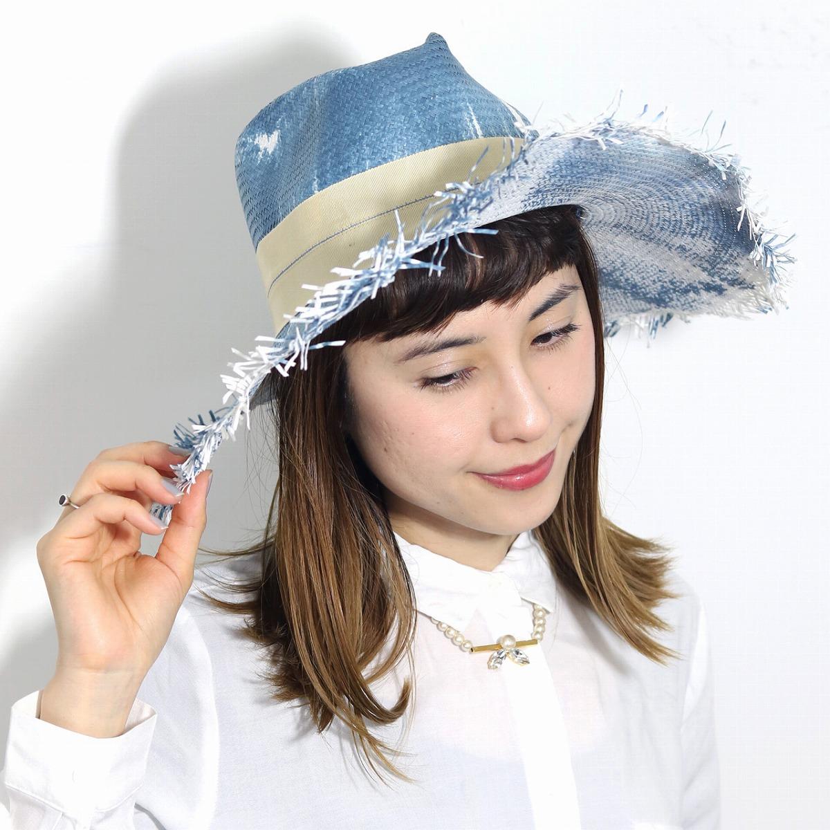 リゾートビーチで使えば注目度No.1 個性的でオシャレな切りっぱなしつば広ハット BROOKLYN HAT ストローハット つば広 ハット レディース ブルックリンハット 帽子 切りっぱなし ビーチ リゾート コーデ レディース ツバ広 カット 個性的 ペーパーハット 紫外線 UV対策 帽子 水着 ハット 麦わら帽子 青 ブルー [ straw hat ] 父の日 ギフト 帽子 プレゼント