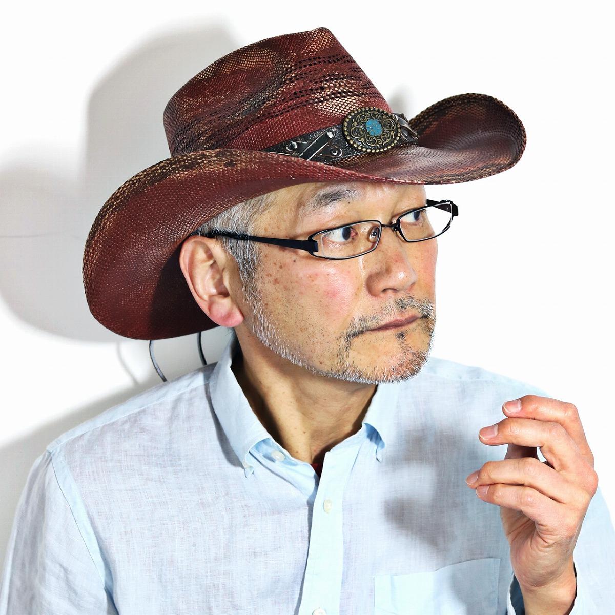 カウボーイハット バーガンディ California Hat Company Inc. ストローハット メンズ バックルベルト ウエスタン 純正バンゴラ草 帽子 春夏 日除け カリフォルニアハット 赤 茶 麦わら帽子 ワイドブリム インポート バーガンディステイン [ cowboy hat ] [ straw hat ]