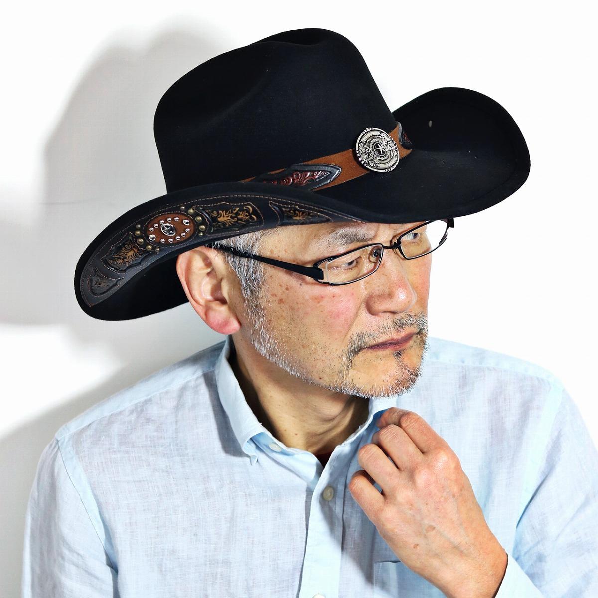 フェルト カウボーイ ハット バックルベルト 高級 帽子 100X ウール テンガロンハット 秋 冬California Hat Company Inc. メンズ カリフォルニアハット ウール100% ワイドブリム フェルトハット ウェスタン ワイヤー入り 黒 ブラック [ cowboy hat ] [ felt hat ]