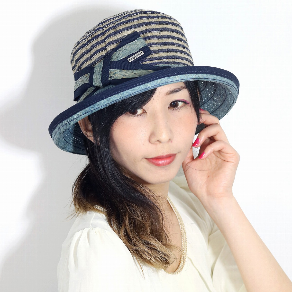 a9339b07 ELEHELM HAT STORE: Ribbon Mrs. hat dark blue navy [straw hat] [sailor hat]  Mother's Day present hat gift in the spring and summer broad-brimmed  horizontal ...