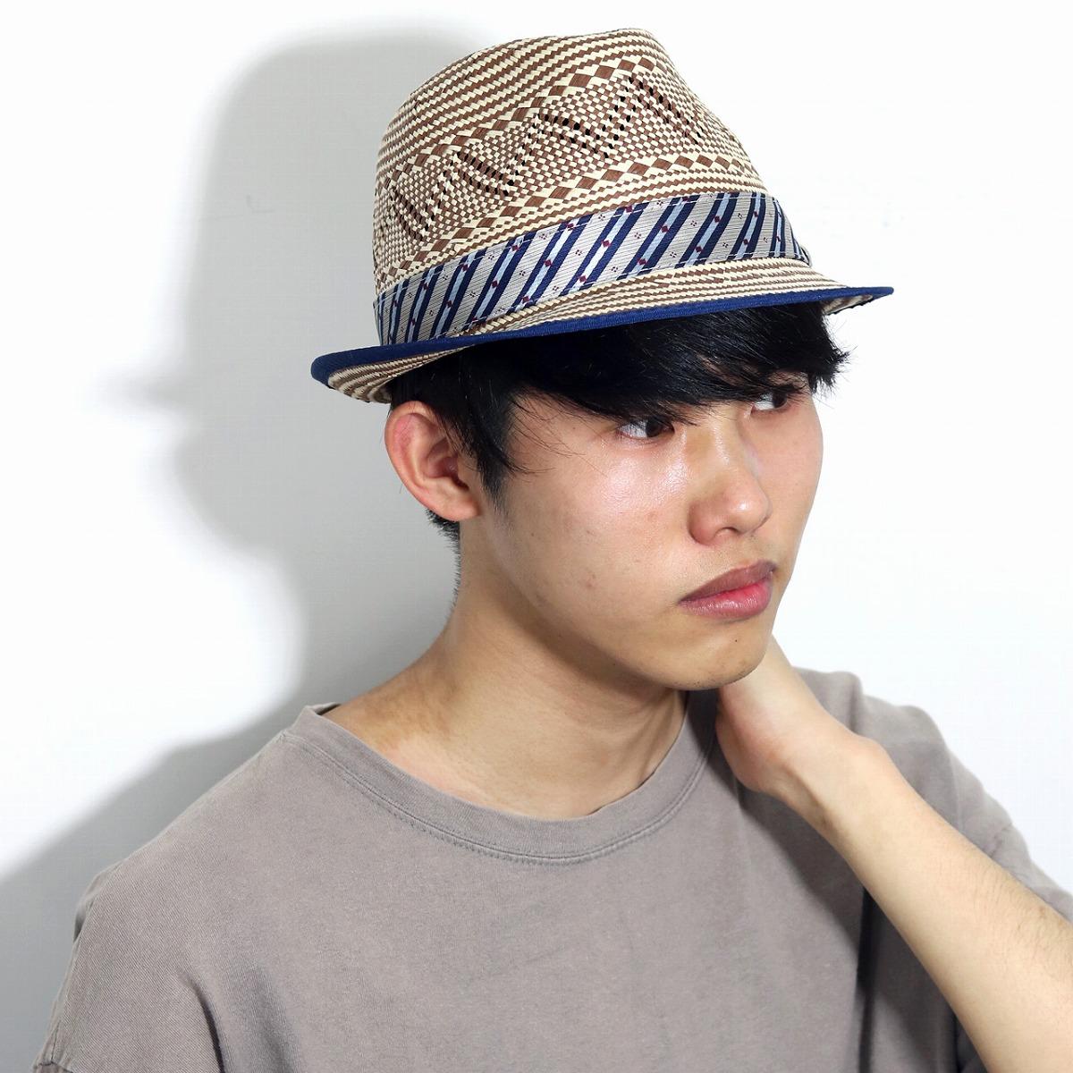 ストローハット 大きいサイズ 中折れ 総柄 Degree TOYO カルロス サンタナ 帽子 春 夏 ハット メンズ 幾何学模様 CARLOS SANTANA 中折れ帽 紳士 トーヨー インポート M L XL / 茶 ブラウン [ straw hat ] 父の日 ギフト お父さん プレゼント