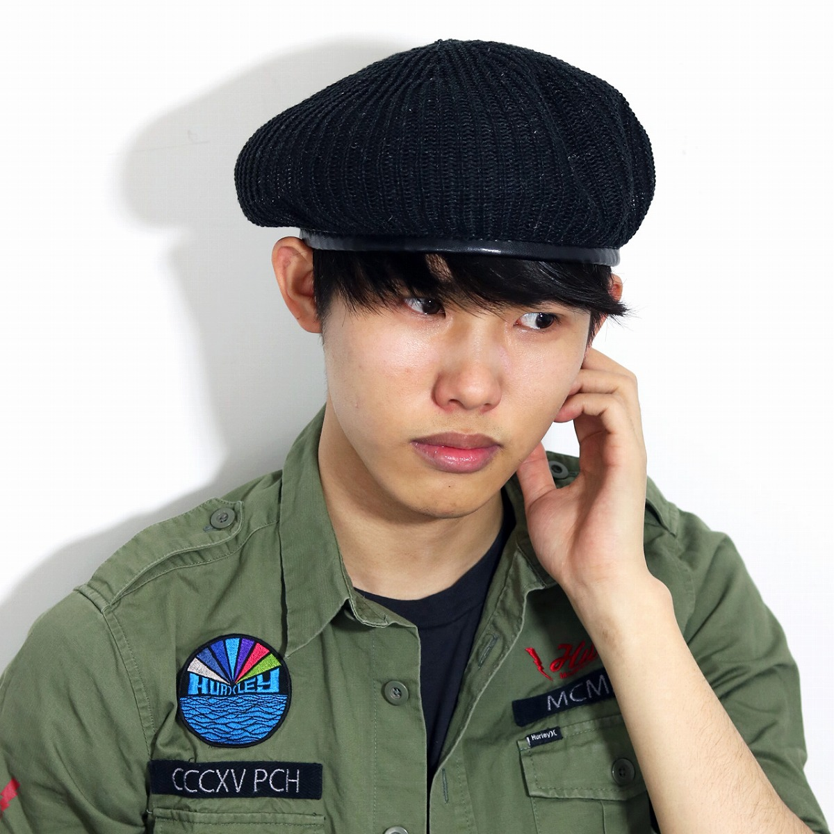 e9b4ad13f00 ELEHELM HAT STORE  Beret summer knit hemp rib army beret hat Lady s men  beret unisex 57.5cm army military beret Monty beret black black  beret   Father s Day ...