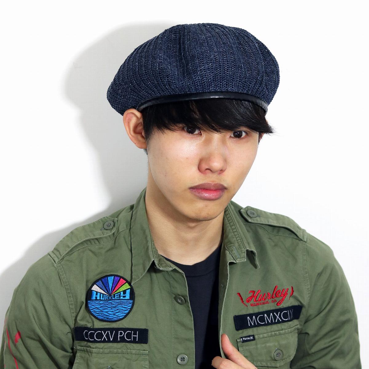 Men's beret summer knit hemp rib army beret hat summer beret Lady's beret  unisex 57 5cm army military beret Monty beret navy dark blue [beret]