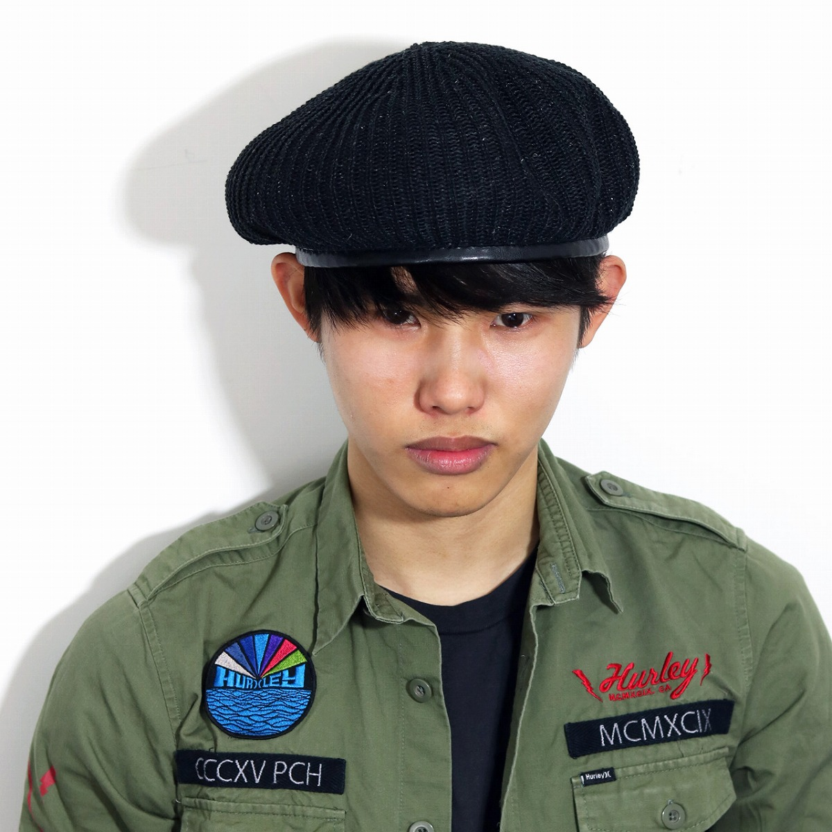 c413f541977 Men s beret summer knit hemp rib army beret hat summer beret Lady s beret  unisex 57.5cm army military beret Monty beret navy dark blue  beret   Father s Day ...