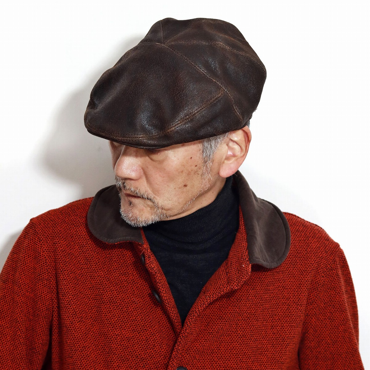Bailey 帽子 ハンチング 秋 冬 大きいサイズ 高品質 ディストレストレザー ベイリー レザーハンチング ヴィンテージ加工 レディース レトロ インポート 海外 ブランド ハンチング帽 紳士 M L XL / 茶 ブラウン[ ivy cap ]
