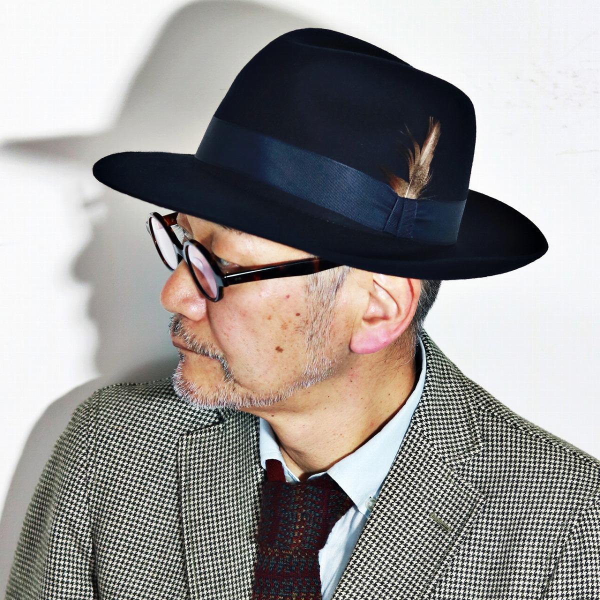 Christie s hat autumn winter men s Christie s London brim wide Hat wide brim  gentleman Hat CHRISTYS   LONDON Grosvenor Fedora Navy Blue Navy (59 cm 61  cm ... 4f79fdd347d