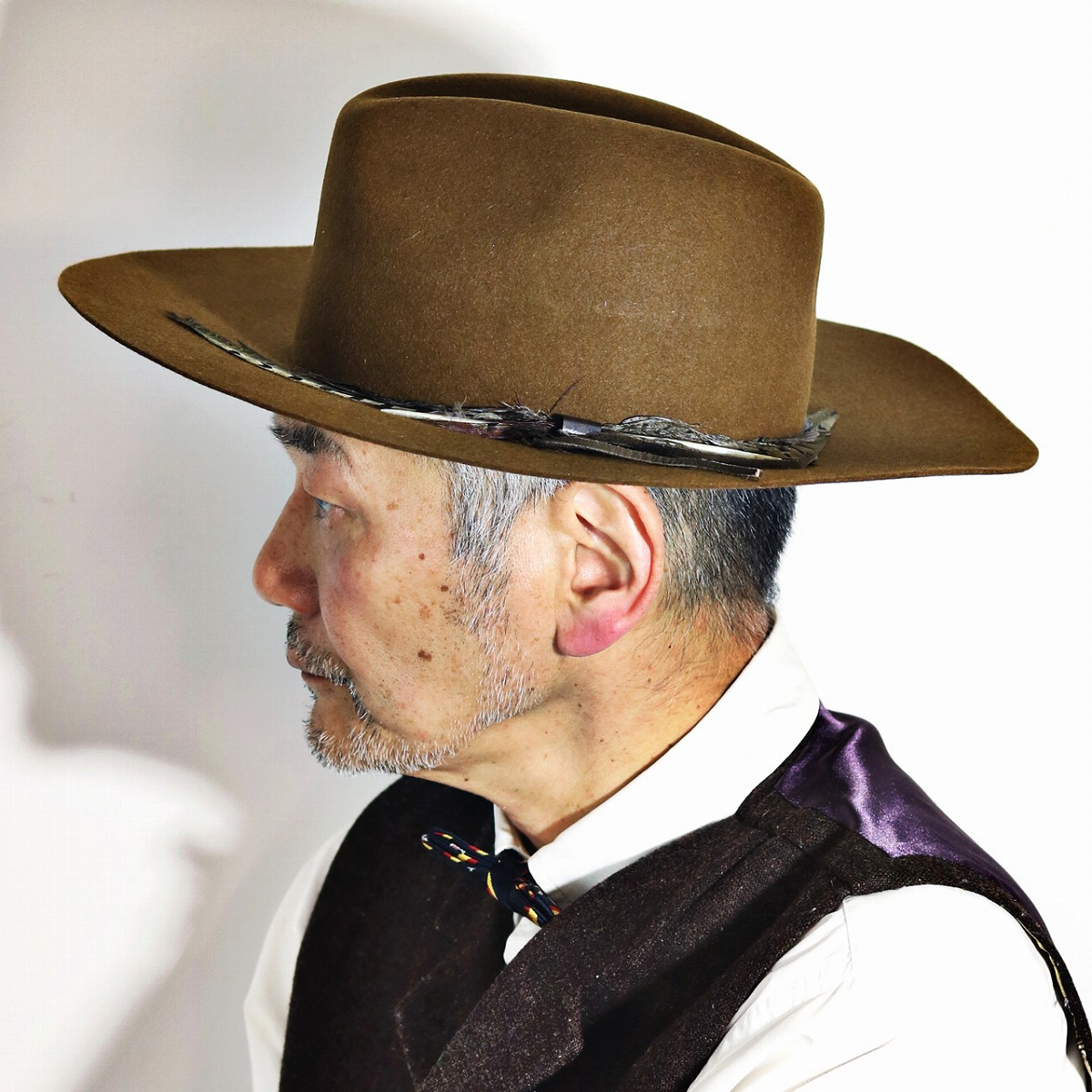 Hat Felt Cowboy Hat Trilby Hat Gentleman 57cm 59cm Brown Camel Cowboy Hat Made In Stetson Felt Hat Broad Brimmed Stetson Western Hat Feather Flat