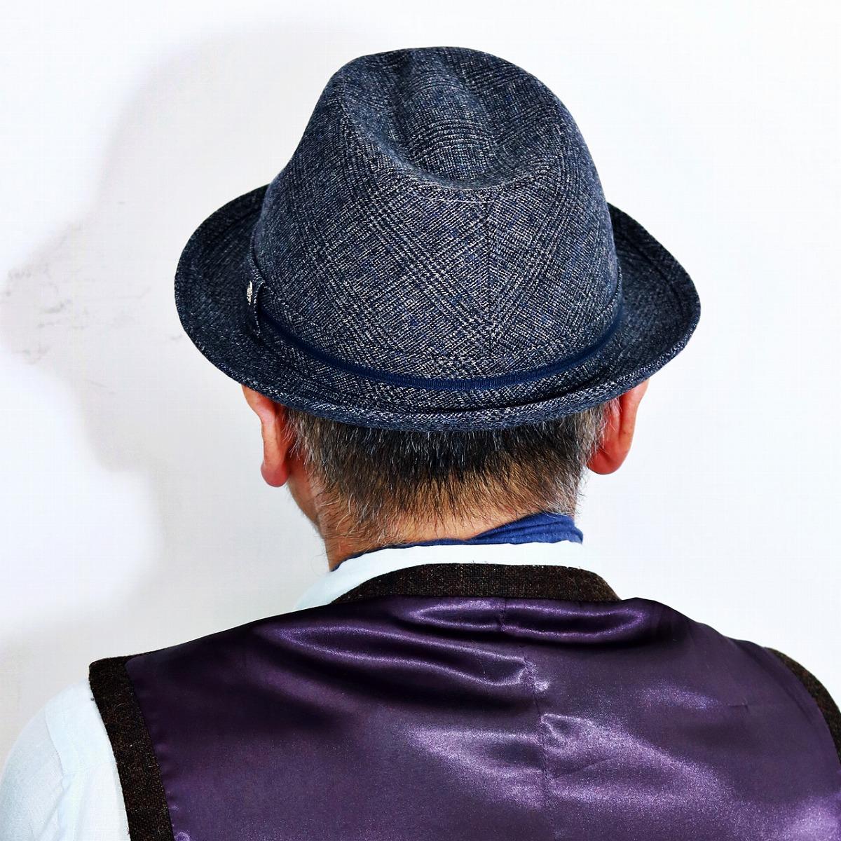 d955fcebc8aa2 Dark blue navy  fedora  Respect for the Aged Day gift birthday Christmas  present hat mail order made in DAKS men hat hat glen check Daks soft felt hat  hat ...
