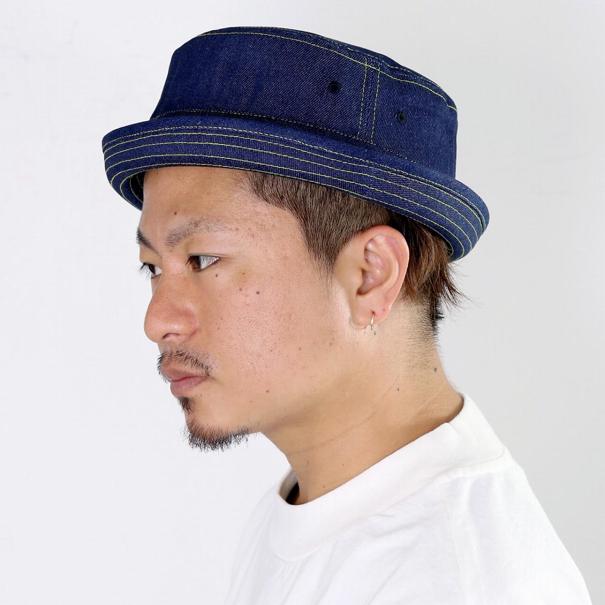 ce2aae5a7c9d9 ELEHELM HAT STORE  Hat men RUBEN denim pork pie Rouben hat size 62cm simple  casual denim accessory denim hat unisex blue denim dark blue navy  pork-pie  hat  ...
