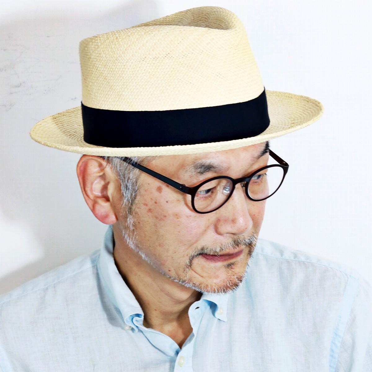 パナマハット メンズ 夏 ステットソン 帽子 ブランド ハット STETSON パナマ帽 紳士 stetson ストローハット 日本製 58cm 60cm パナマ帽子 リボン 麦わら帽子 シンプル お洒落 / ネイビーリボン [ fedora ] [ panama hat ] 父の日 ギフト 誕生日 プレゼント