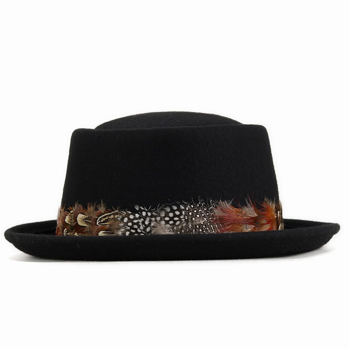 4a4cf850f60f5 It is black black GALLIANO SORBATTI pork pie software wool felt  pork-pie  hat  wool 100% 57cm 59cm 61cm in hat winter in feather winding men felt hat  autumn ...
