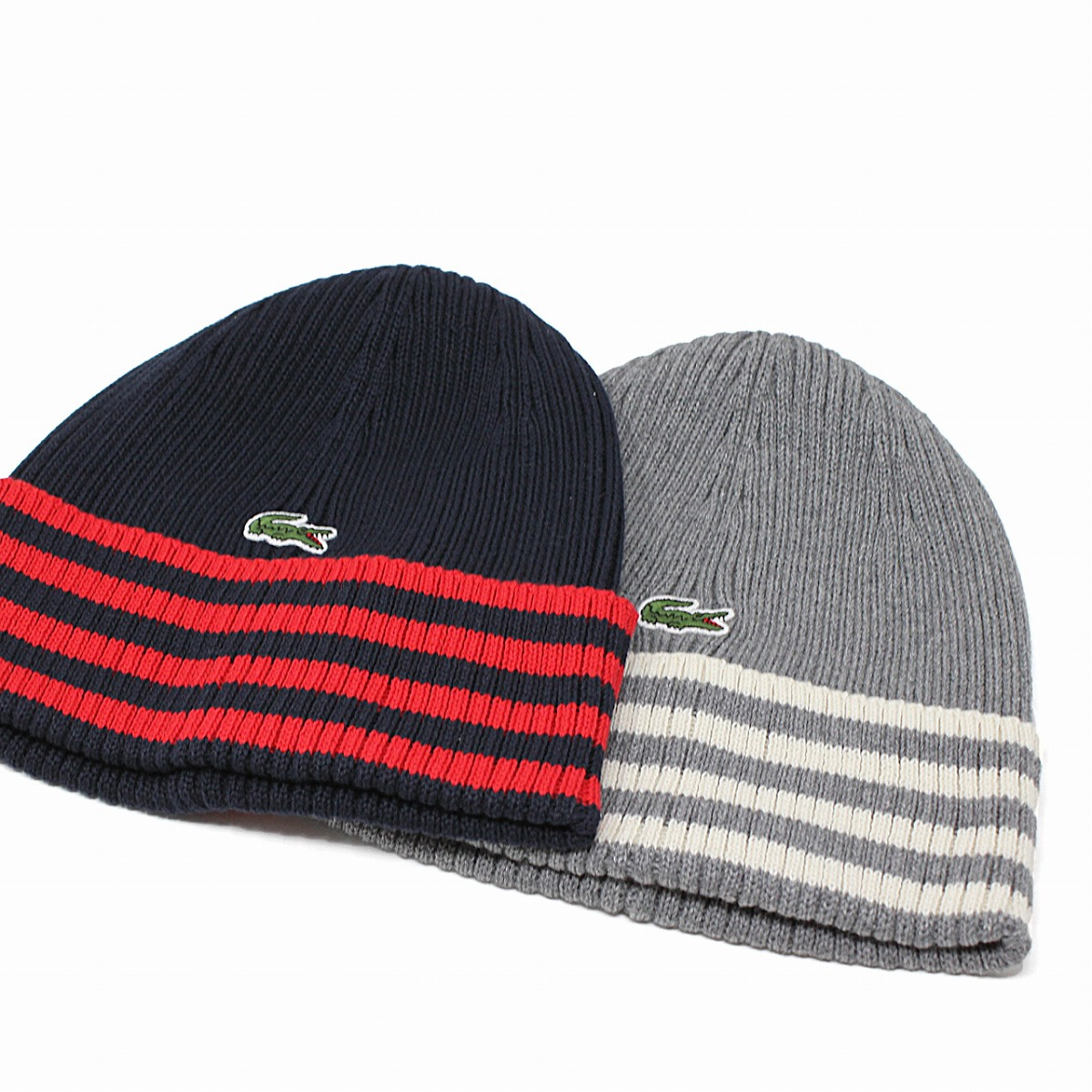 1a687d62e Product made in スポーティニットワッチワニマークブランドアウトドア LACOSTE mail order dark blue red  navy red [beanie cap] ...