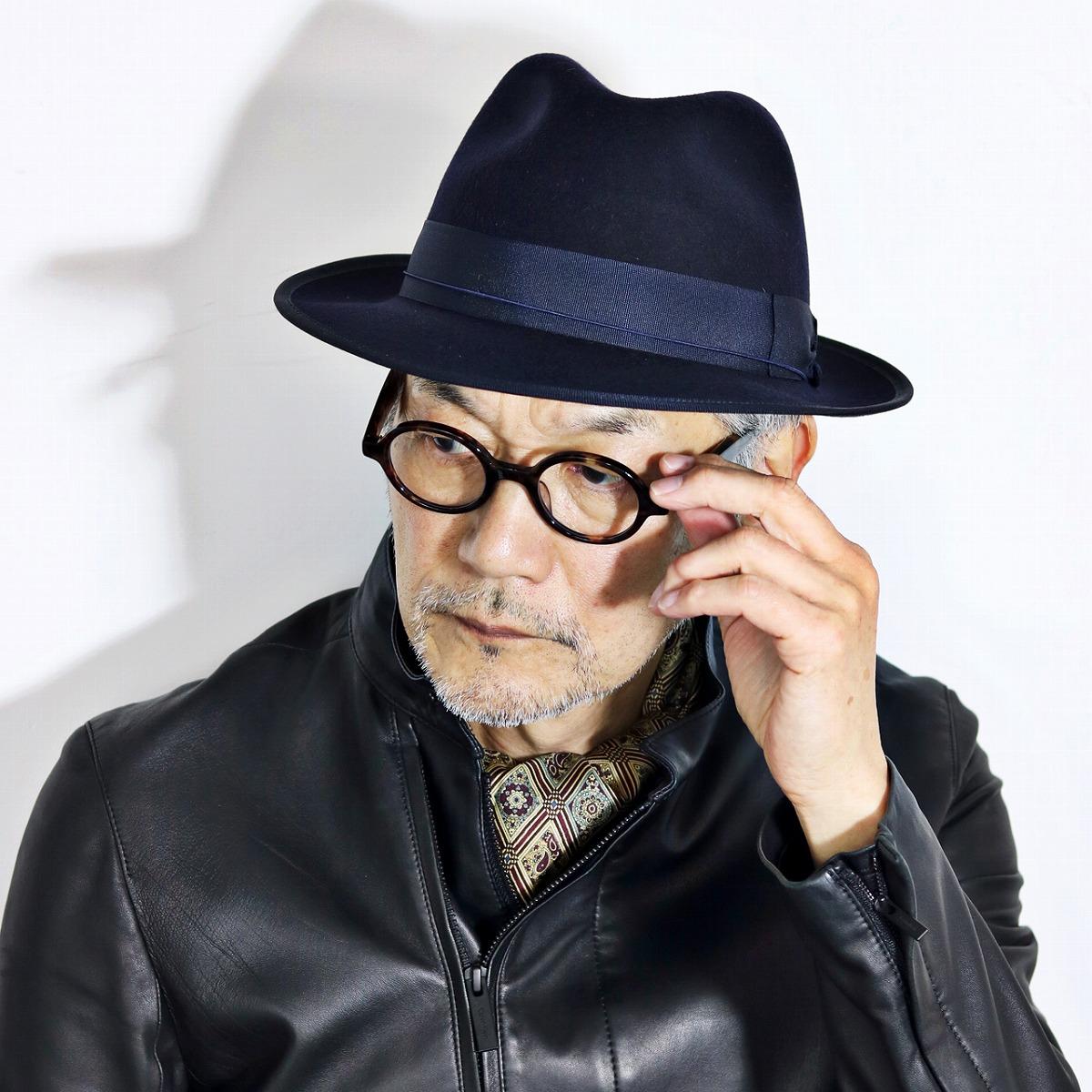 ELEHELM HAT STORE  Men s soft felt hat hat Italian brand Sorbatti crusher  bulldog Sor Bhatti hat dark blue navy in the fall and winter  dbfa21c3093