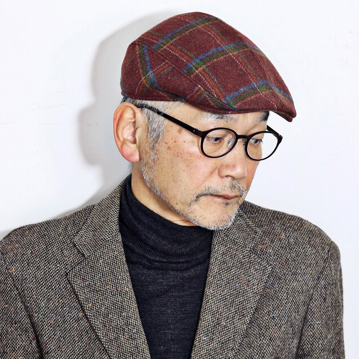 ウール ハンチング フランス製 メンズ 帽子 クランベス CRAMBES インポートブランド チェック柄 ハンチング帽 赤 ワインレッド ワイン [ ivy cap ]( クリスマス ギフト包装 ラッピング 無料 )