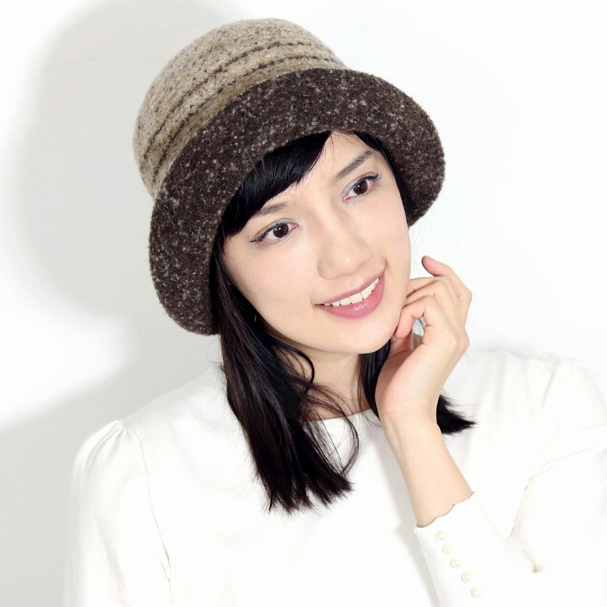 レディース ハット 毛 秋 冬ミセス ブランド 暖かい クロッシェハット ダックス DAKS 日本製 ニット素材 ボーダー柄 帽子 茶 ブラウン