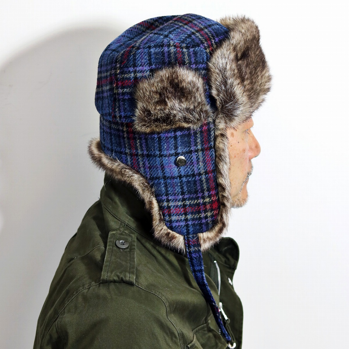 Flight cap flight hat cold protection earflap ear cover KASZKIET nostalgic men  hat cap checked pattern カシュケットギフト blue blue (Christmas gift packing ... 0e1a5560772d