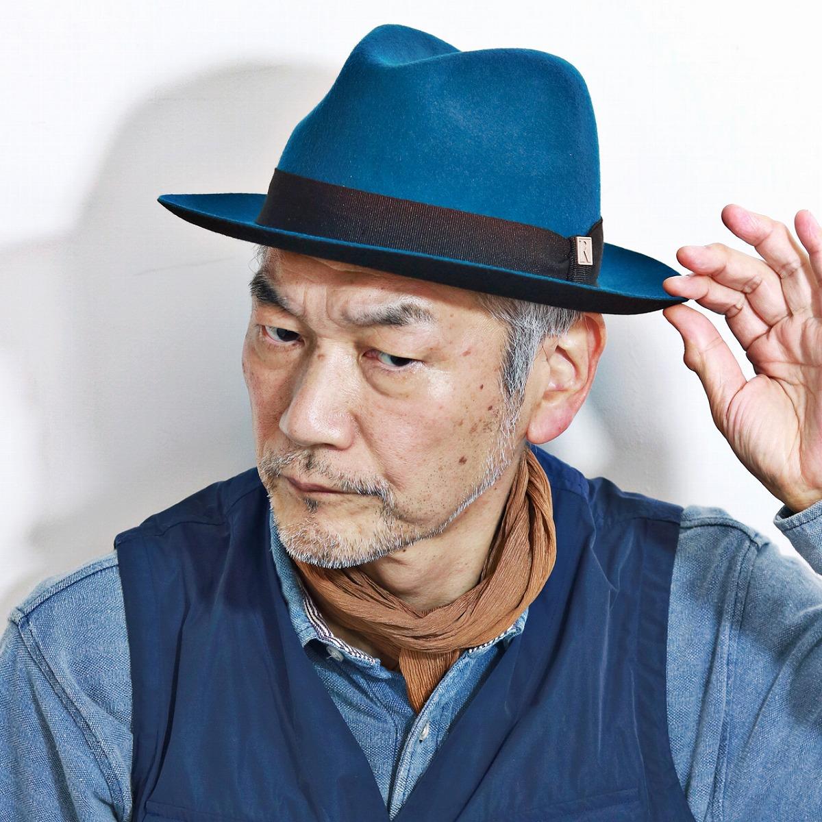 フェルトハット 秋 冬 REGALIS レガリス 中折れハット 中折れ 帽子 メンズ ウール メンズ レディース [ fedora ] 青 ブルー