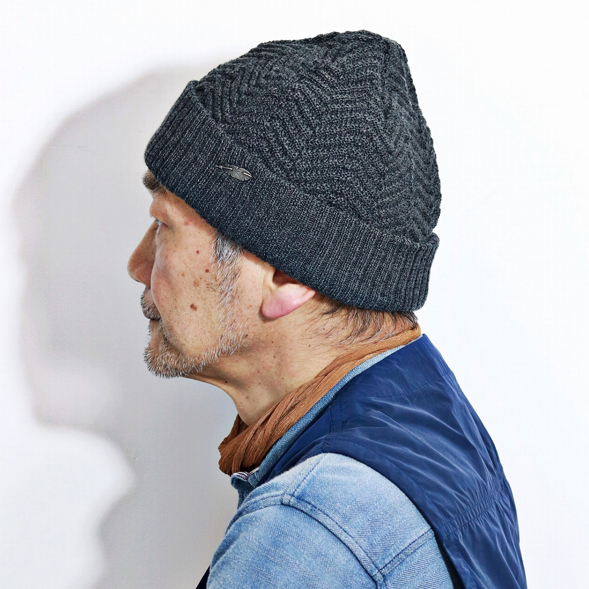f15149453b ELEHELM HAT STORE  ニットワッチ STETSON herringbone wool fabric hat knit hat  gentleman men gap Dis Stetson cold protection charcoal in the fall and  winter ...