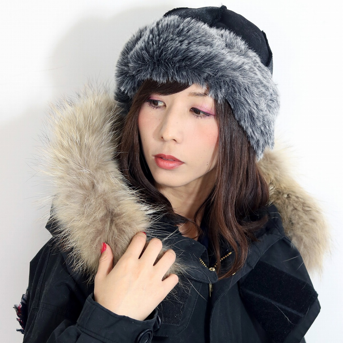 138fbe0bb ROBERTidea Russia hat hat fur Roberto idea Russian hat Lady's hat black  black (Christmas gift packing lapping free of charge) in the fall and winter