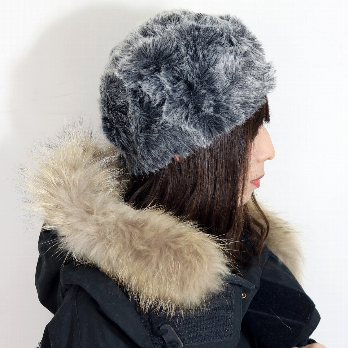 213bd6946 Roberto idea ROBERTidea Russian hat hat fur foreign countries buran mud  cyan hat Lady's hat black black (Christmas gift packing lapping free of ...