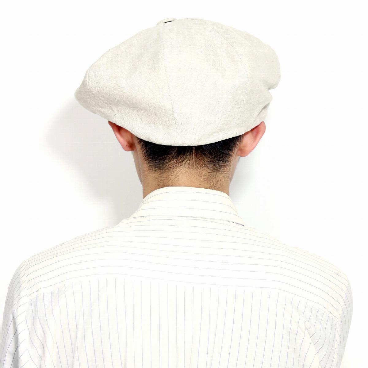 ニューヨークハット 帽子 春夏 メンズ ハンチング つば長 麻100生成り ビッグシルエット NEW YORK HAT 8方ハンチング ニュースボーイ Linen Big Apple レディース 無地 シンプル アメリカ製 フリーサイズベージュ オートミールnewsboy capivy capBoeWErdQCx