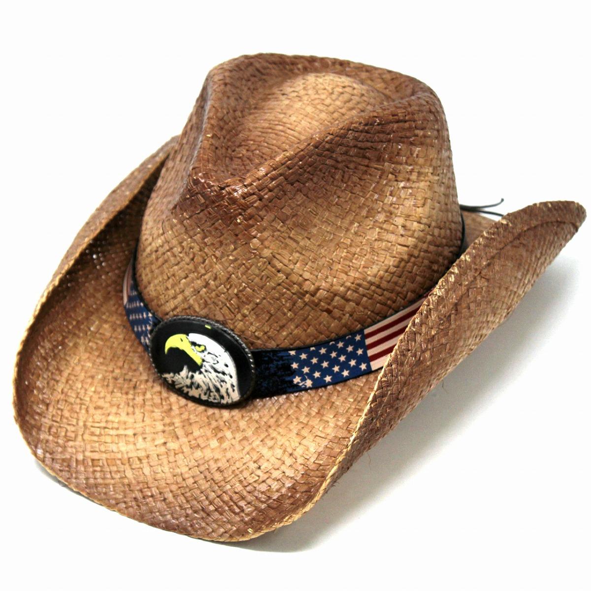 ... Straw hat cowboy Peter Grimm hat raffia men hat Star-Spangled Banner  eagle hawk eagle ... 29bbd03583d7