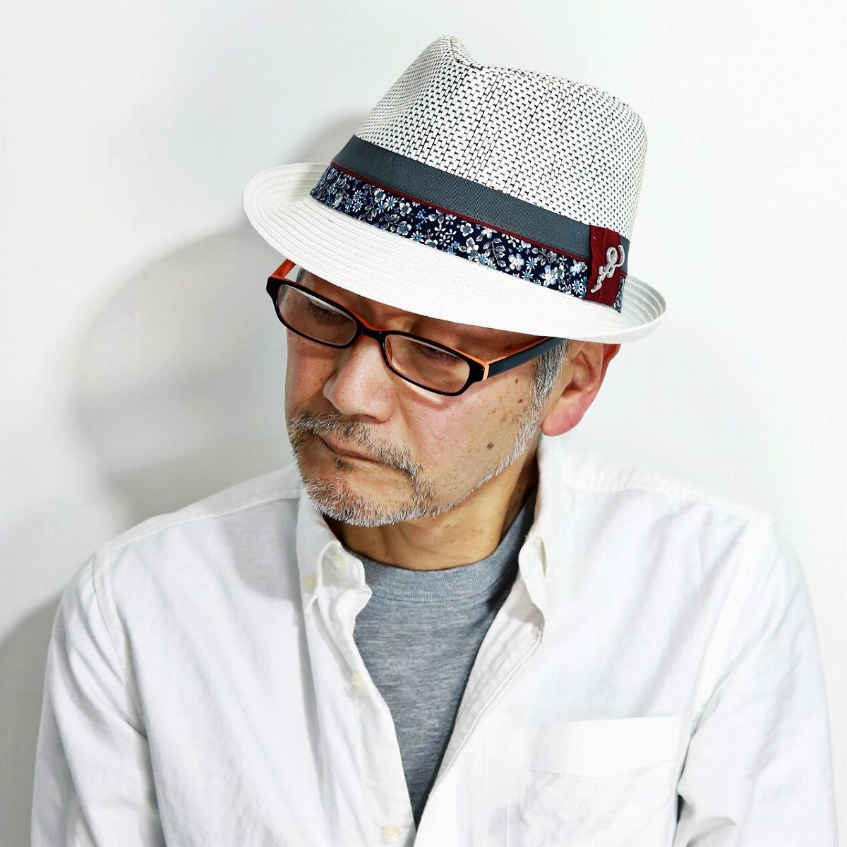 CARLOS SANTANA 春 夏 帽子 メンズ ペーパー素材 DORSEY ストローハット 涼しい カルロスサンタナ ハット 花柄リボン レディース 中折れ帽 紳士 麦わら帽 ギターモチーフ M L XL リゾートコーデ / 白 ホワイト [ straw hat ]