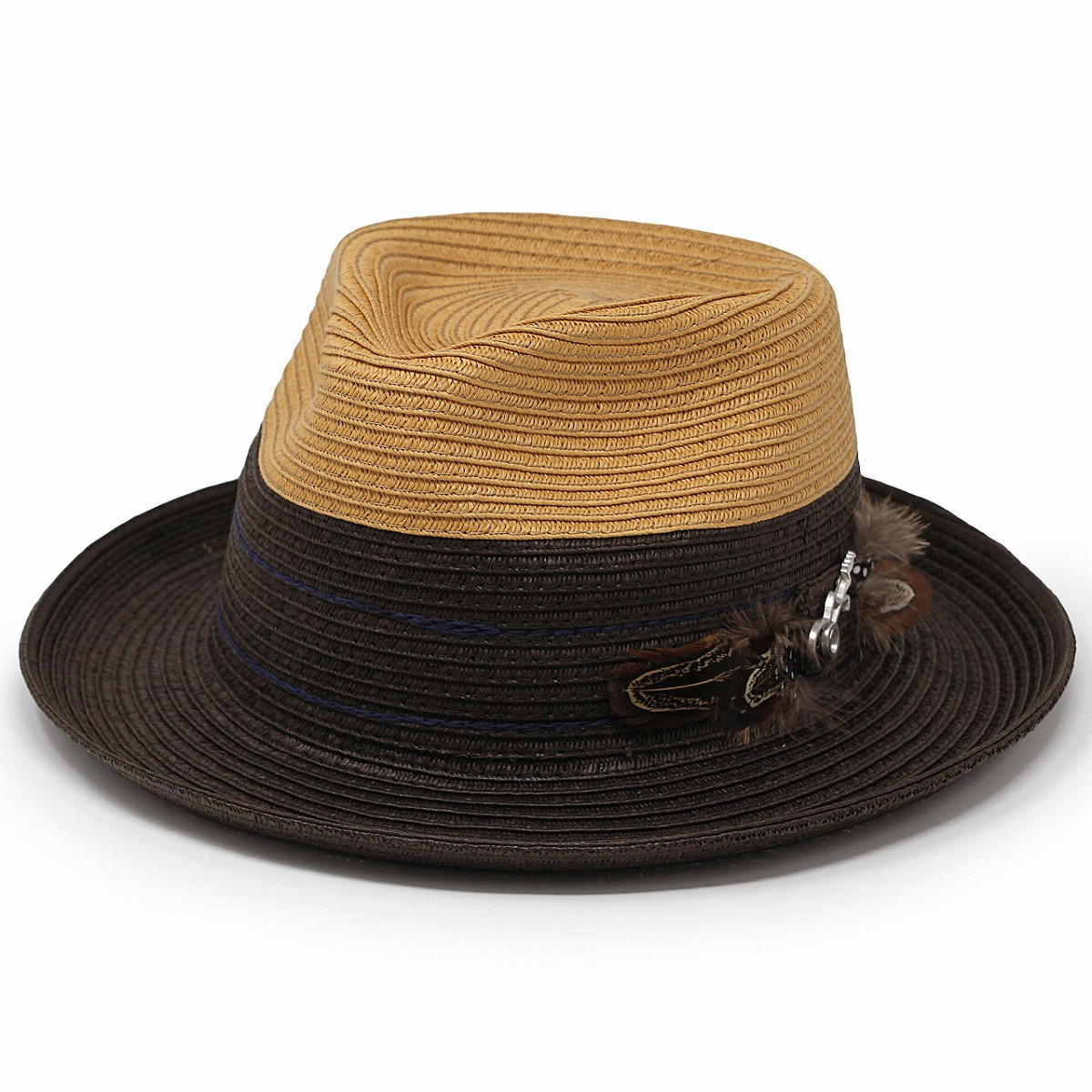 43b61d0bb93 ELEHELM HAT STORE  Gentleman brown tea  straw hat  with the paper ...