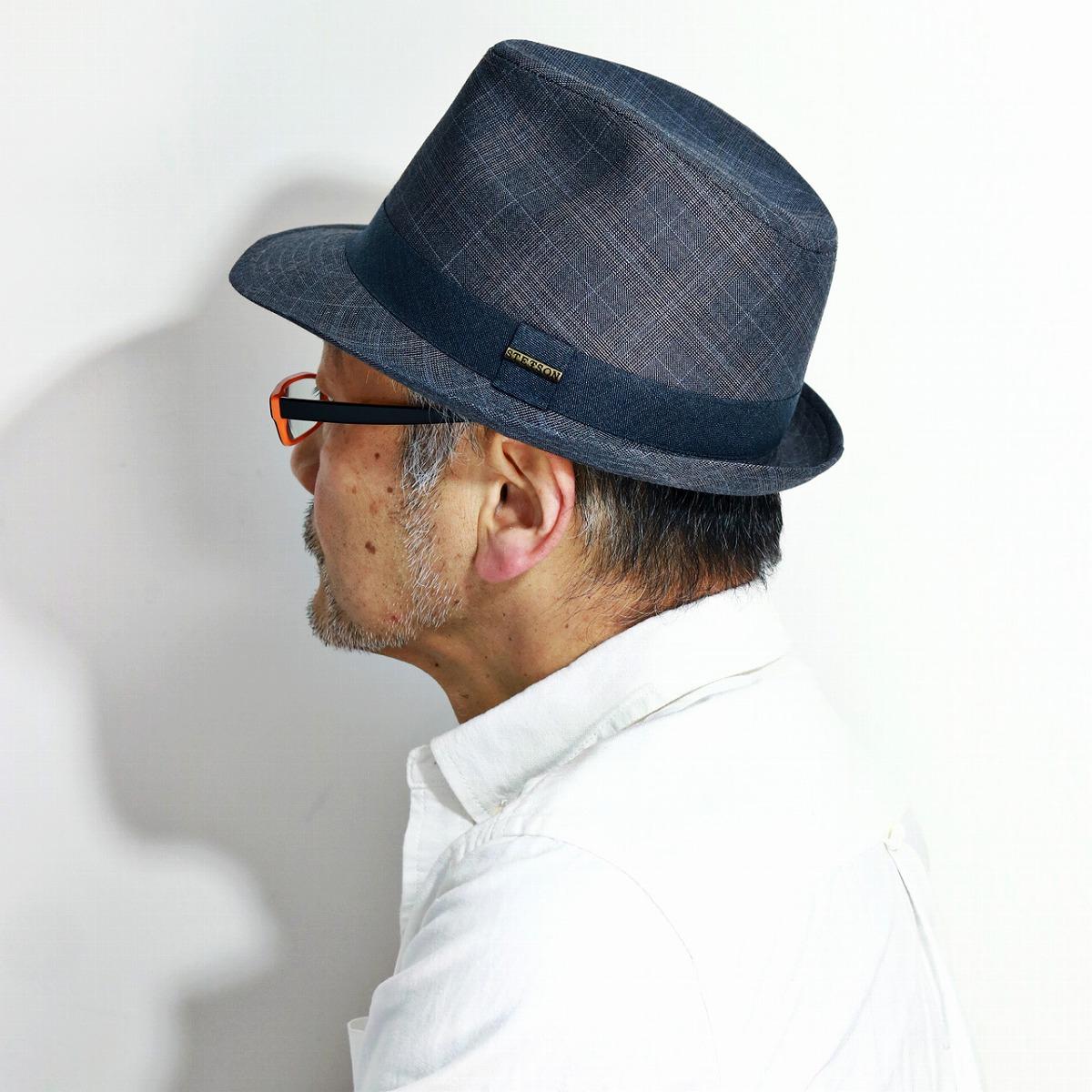 stetson ハット 春 夏 秋 チェック柄 帽子 中折れハット 紳士 HAT 中折れ帽 チェック 日よけ カジュアル レディース ステットソン ぼうし 大きいサイズ M L XL / グレー[ fedora ]男性 プレゼント 帽子通販