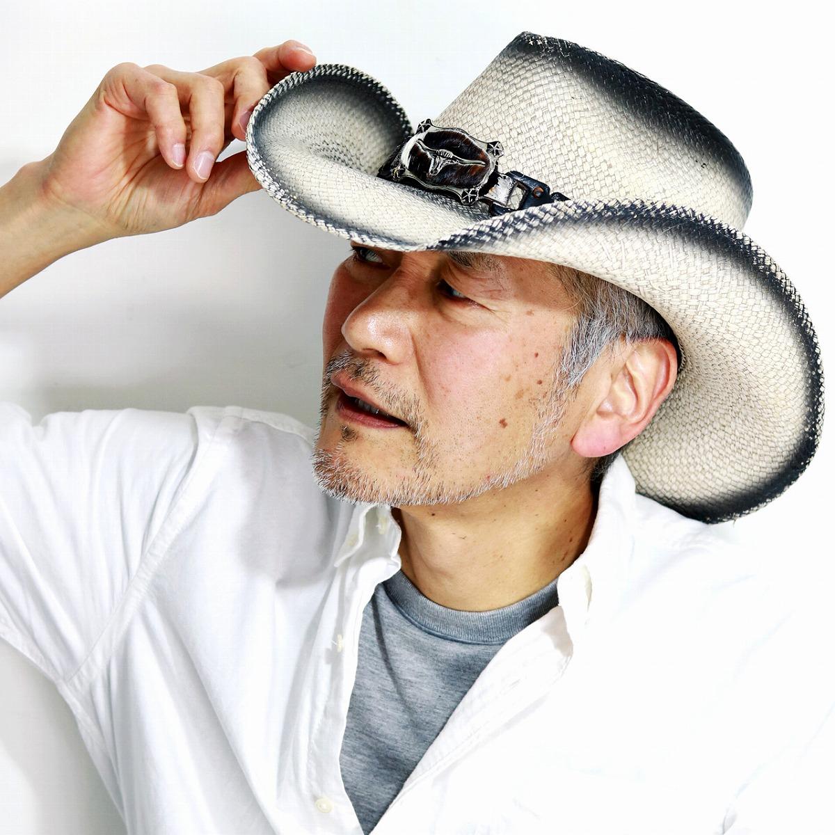 カリフォルニアハット LONG HONE WHITE STAIN パナマ帽子 パナマハット メンズ 春 夏 ハラコ バックル 水牛 テンガロン California Hat Company Inc. カウボーイ ハット アンティーク ウエスタン 白 ホワイト [ cowboy hat ] [ panama hat ]