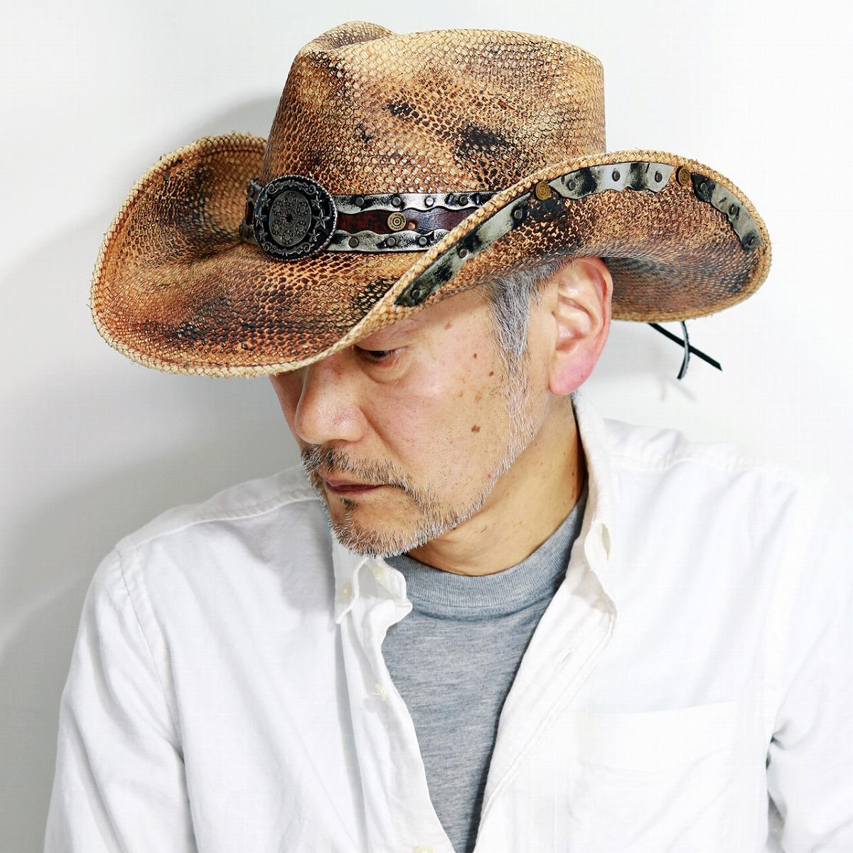 カウボーイ ハット 春夏 パナマ ウエスタン パナマハット スタッズ メンズ 帽子 日除け テンガロン ストローハット 茶色 California Hat Company Inc. Stampede Hat スタンピードハット ビンテージ風 麦わら帽 つば広 ワイヤー入り / ティー [ cowboy hat ] [ panama hat ]