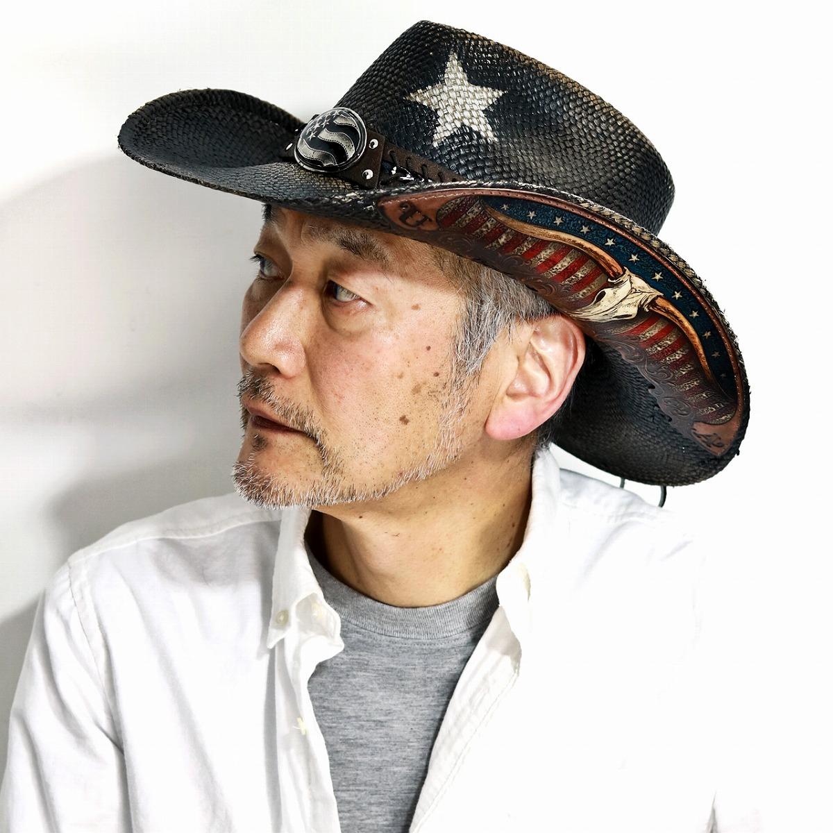 パナマハット 星柄 メンズ 帽子 パナマ100% カウボーイハット 星条旗 バックルベルト テンガロン Lサイズ XLサイズ / California Hat Company Inc. ストローハット 大きいサイズ 春 夏 スター ウエスタン 日よけ / 黒 ブラック [ cowboy hat ] [ panama hat ]