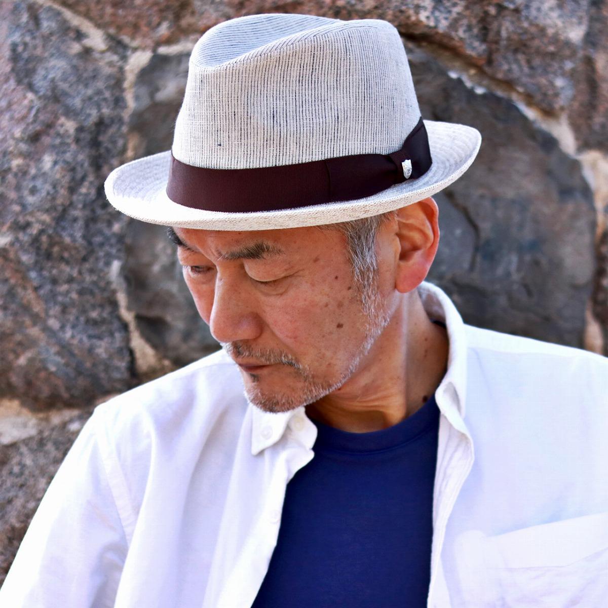 DAKS ハット メンズ ダックス 中折れハット リボンボイルワッシャー 春 夏 麻100% ストライプ 帽子 紳士 HAT 日本製 サイズ調整可能 57cm 59cm 61cm ベージュ[ fedora hat ]男性 誕生日 帽子 父の日 ギフト プレゼント