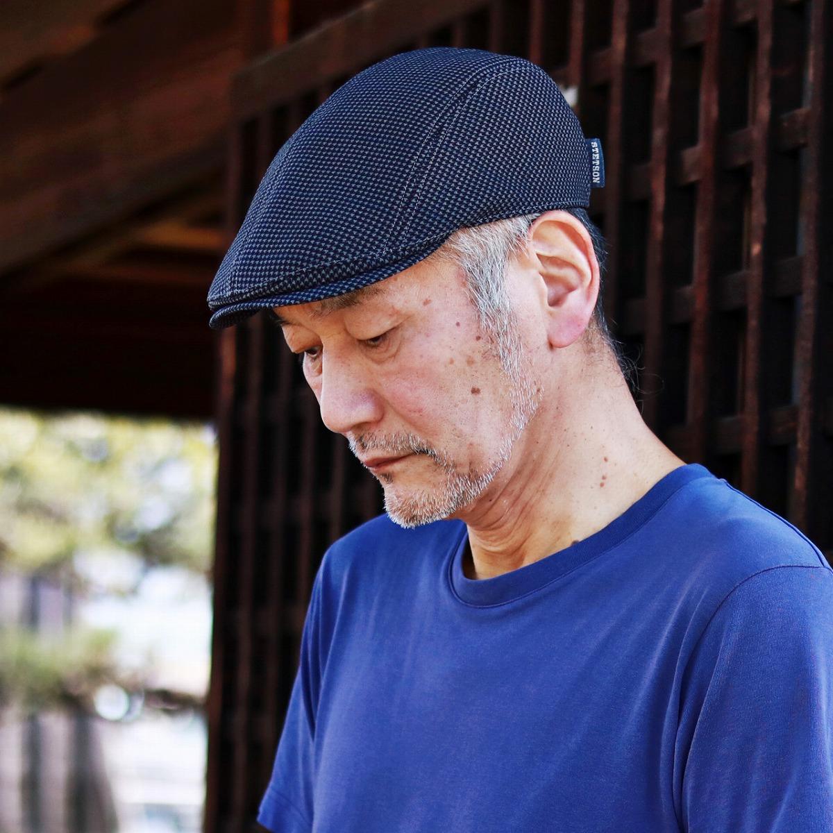 ハンチング 春 夏 メンズ STETSON ステットソン 帽子 ハンチング帽 チェック柄 千鳥格子 高品質 日本製 涼しい 紳士 帽子 サイズ調整可 ポリエステル ユニセックス チャコールグレー[ ivy cap ]送料無料 男性 プレゼント 父の日
