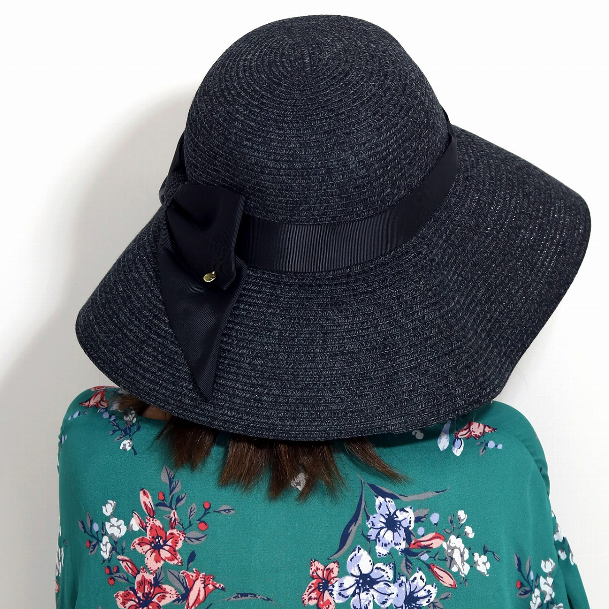 6d830b81669cb The ribbon straw hat hat 58cm size adjustment black  straw hat   wide-brim  hat  lapping free of charge that a broad-brimmed lady s hat black   elehelm  straw ...