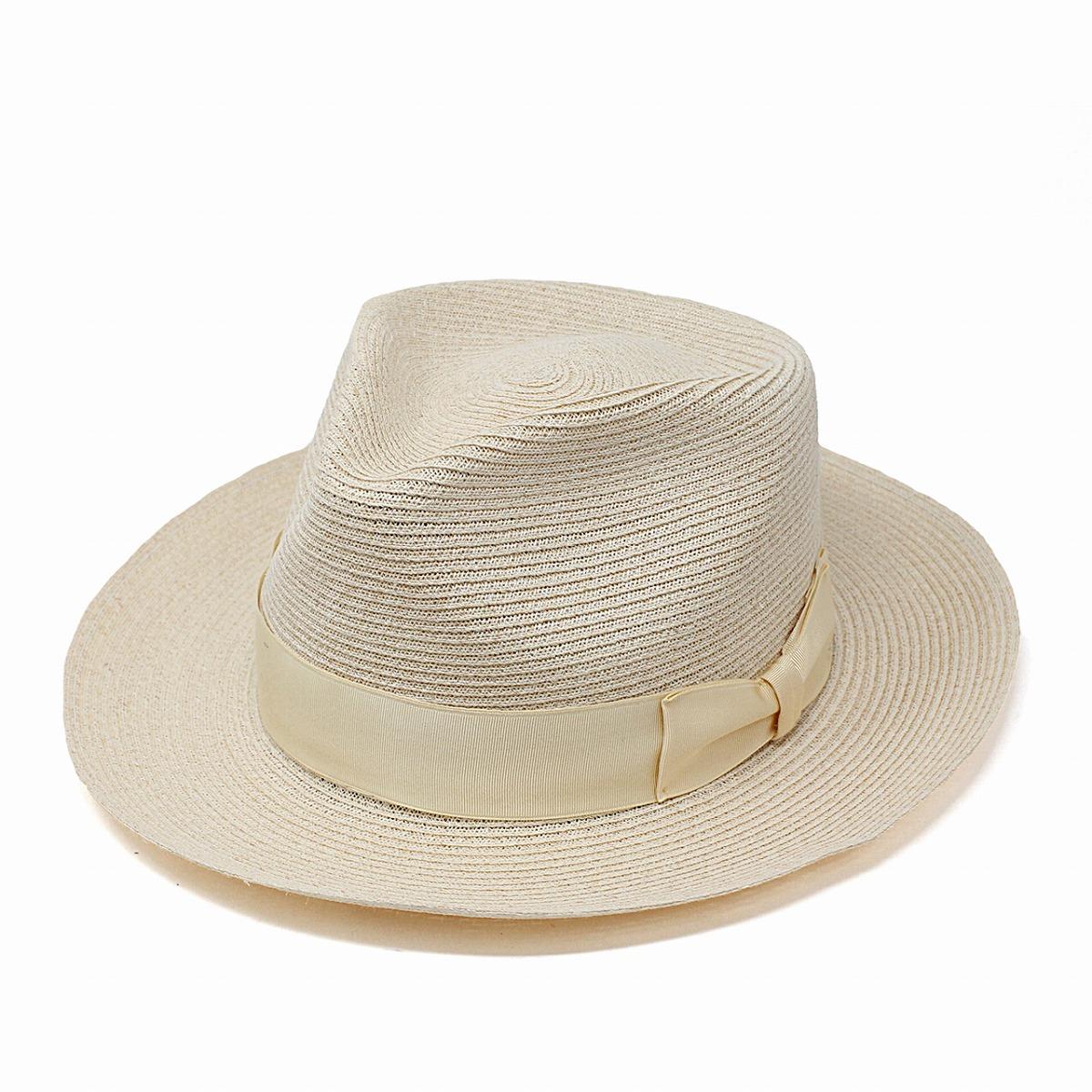 ストローハット ヘンプ100% ワイドブリム リボン 麦わら帽子 メンズ stetson 帽子 春 夏 大きいサイズ アメリカ製 ステットソン ハット 高級 帽子 中折れハット 紳士 M L XL ナチュラル[ fedora hat ][ straw hat ]送料無料 男性 プレゼント 父の日