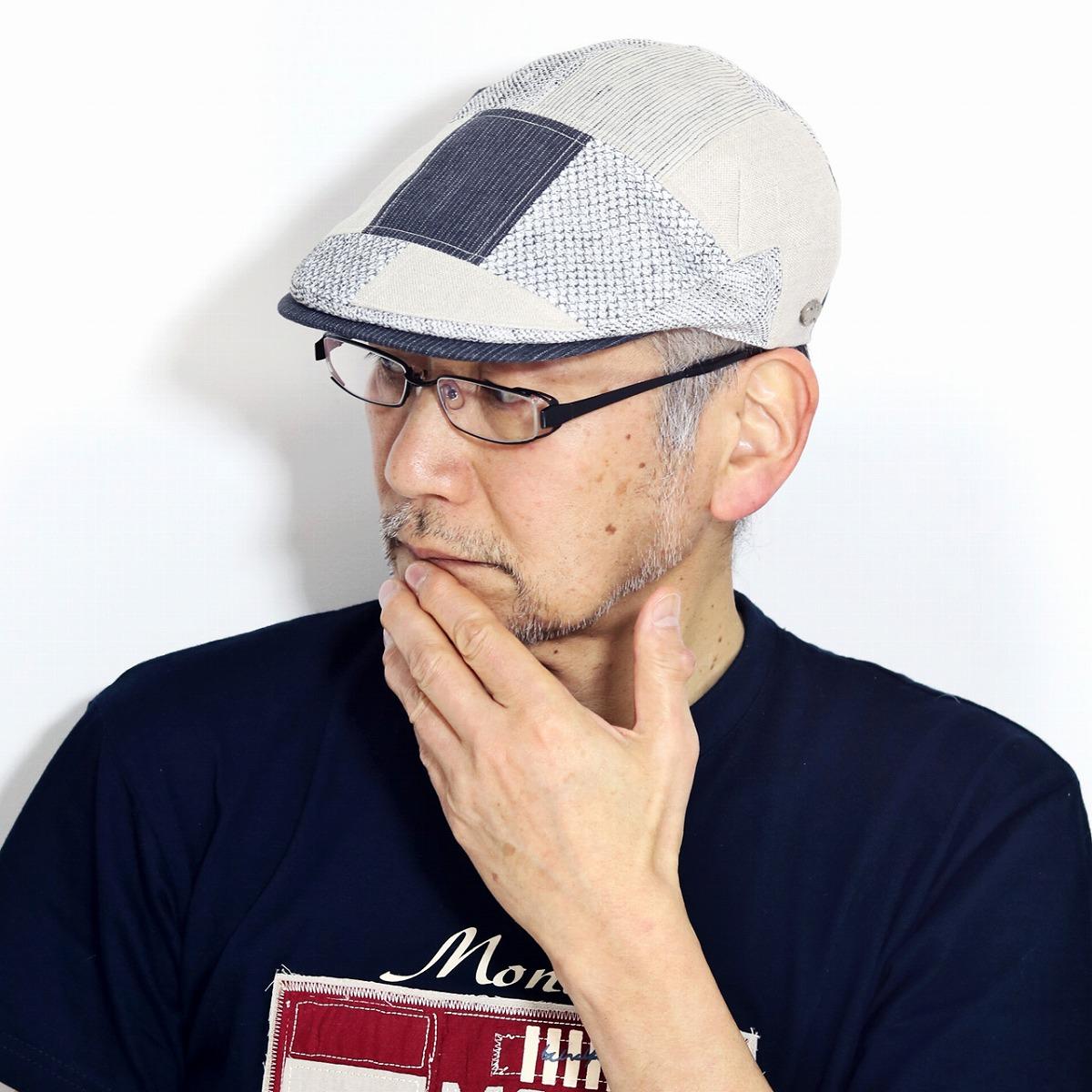 DAKS パッチワーク ハンチング ダックス 春 夏 帽子 メンズ ラッセル編み ストライプ すべりサイズ調整 ハンチング帽 紳士 56.5cm 58cm 59.5cm M L XL 50代 60代 70代 ファッション カジュアル / グレー[ ivy cap ]男性 誕生日 帽子 父の日 ギフト プレゼント