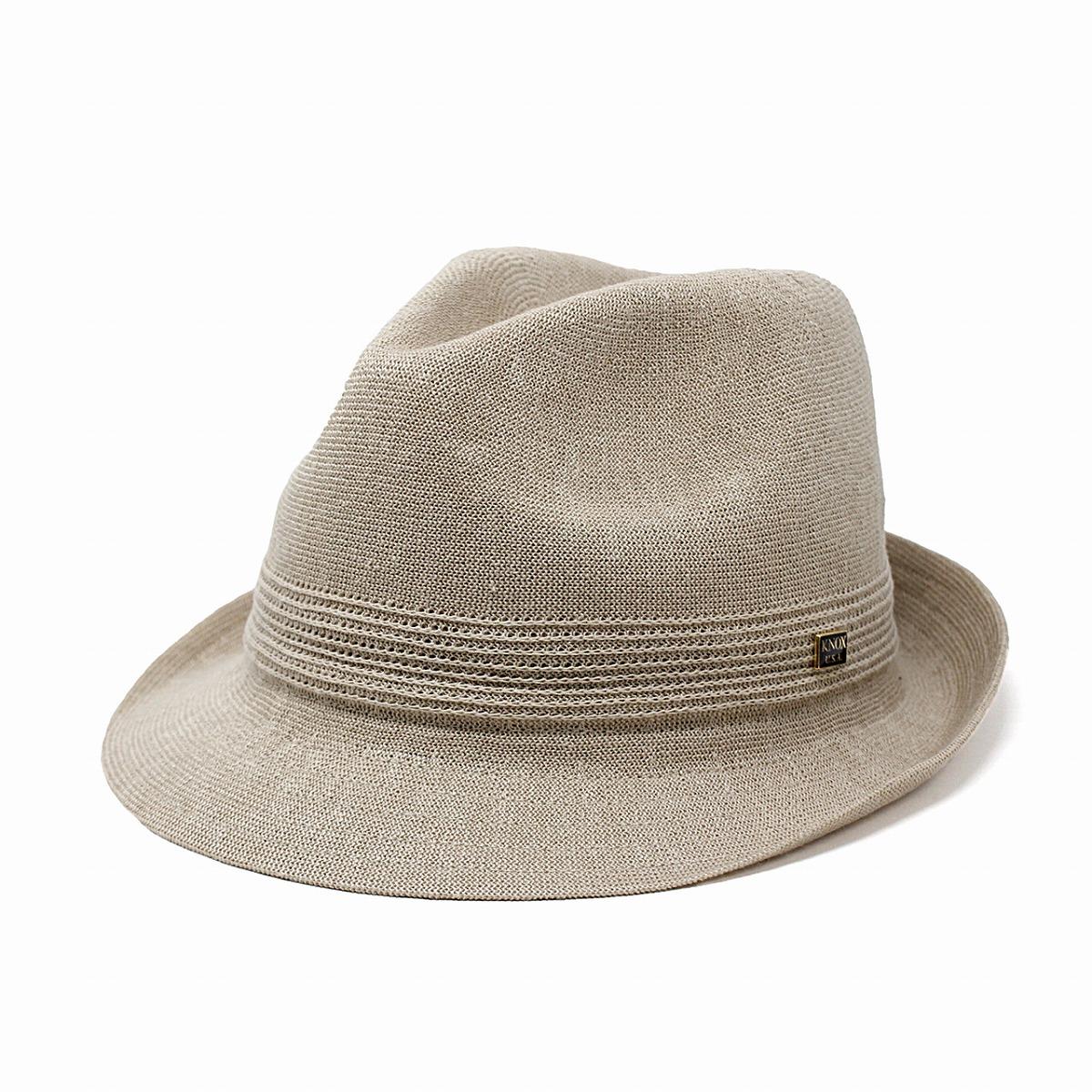 ハット メンズ 春 夏 KNOX 帽子 サーモニット リネン ノックス 中折れハット 麻 通気性が良い 中折れ帽 紳士 涼しい シンプル 無地 日本製 58cm 59.5cm サイズ調整 ショートブリム 中折れ インポート ベージュ[ fedora ]父の日 ギフト プレゼント ラッピング