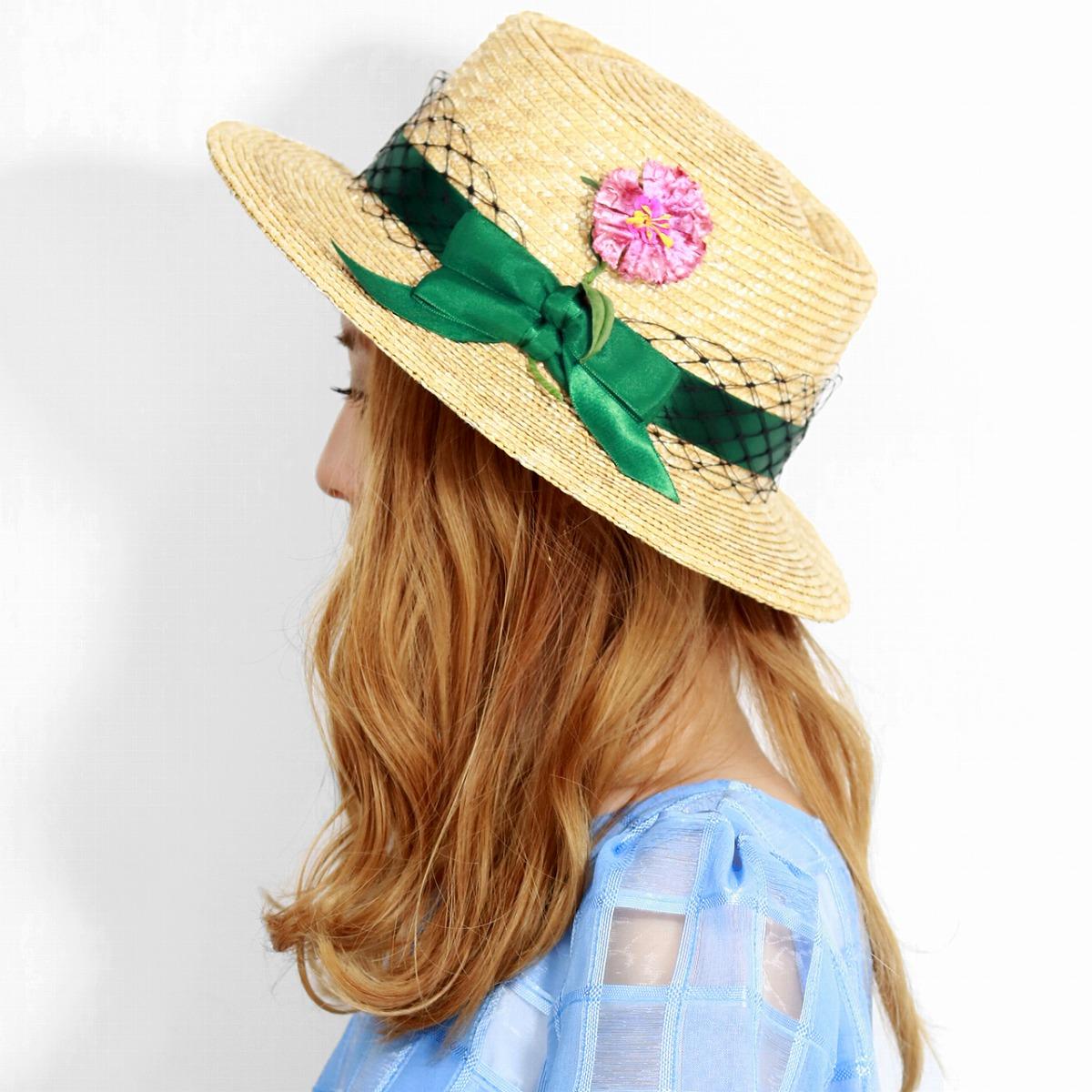 バラ色の帽子 ストローハット レディース Barairo no Boushi 春 夏 帽子 なでしこポークハット フラワーコサージュ チュール リボン ポークパイハット 布花 麦わら帽子 日本製 フリーサイズ おしゃれ 緑 グリーン [ pork-pie hat ][ straw hat ] 母の日 ギフト プレゼント