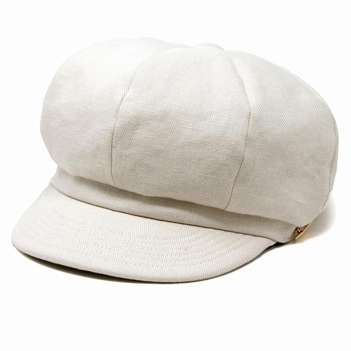 8方パネル キャスケット メンズ メゾン バース リネン 帽子 キャスケット帽 紳士 麻 ふっくらシルエット キャス MAISON Birth cas シンプル 無地 フリーサイズ / 白 オフホワイト [ newsboy cap ]
