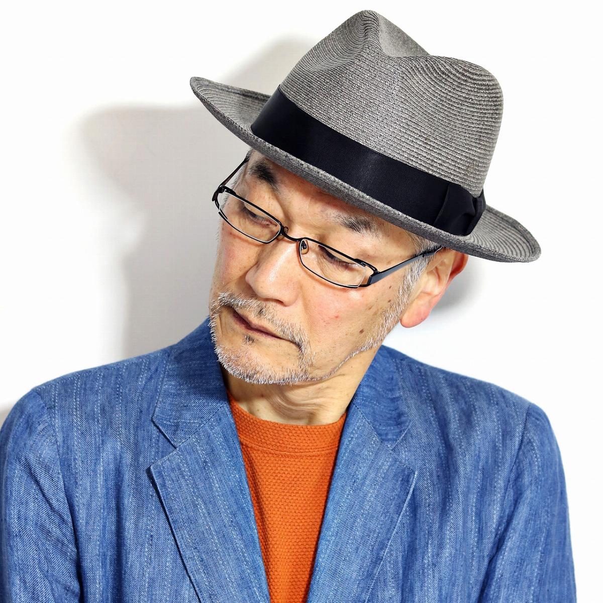 ノックス ストローハット 大きいサイズ KNOX 春 夏 麦わら帽子 リボン 日本製 ペーパーブレード 紳士 中折れ帽 涼しい 海外ブランド 紙 帽子 ペーパーハット メンズ 58cm 60cm 62cm / グレー[ fedora ][ straw hat ]父の日 ギフト プレゼント ラッピング無料