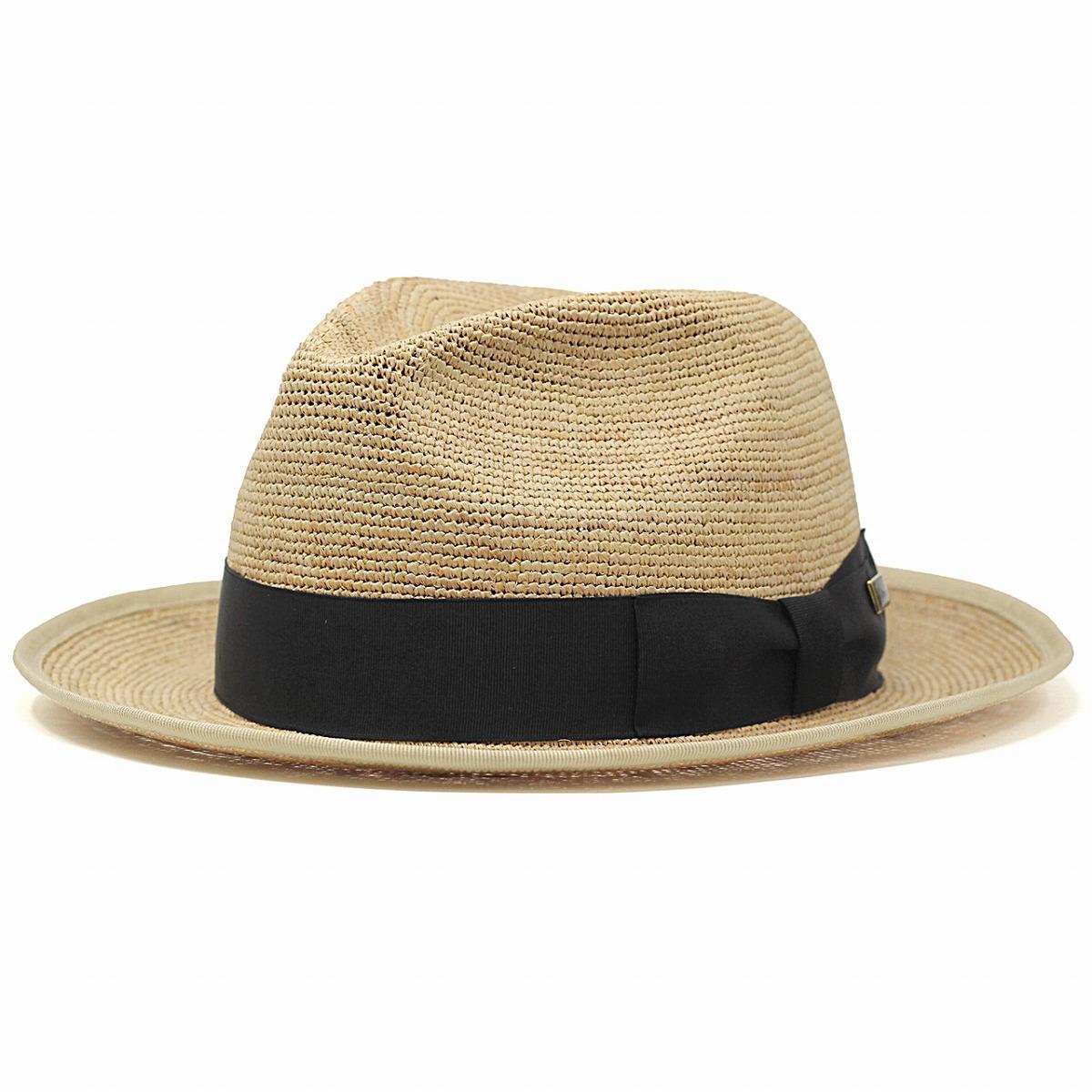 ラフィア ハット 春 夏 KNOX 麦わら帽子 メンズ ノックス 帽子 日本製 ストローハット ワイドブリム 中折れ 涼しい 海外ブランド かっこいい 紳士 麦わら帽 黒リボン 58cm 60cm 62cm / ベージュ[ fedora ][ straw hat ]父の日 ギフト プレゼント ラッピング無料