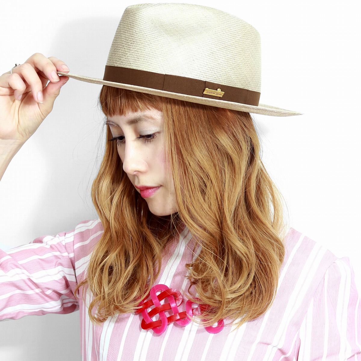 18d62523 ELEHELM HAT STORE: It is gift present lapping for free in Shin pull plain  fabric MAISON Birth hat Lady's straw hat size adjustment possibility /  beige ...