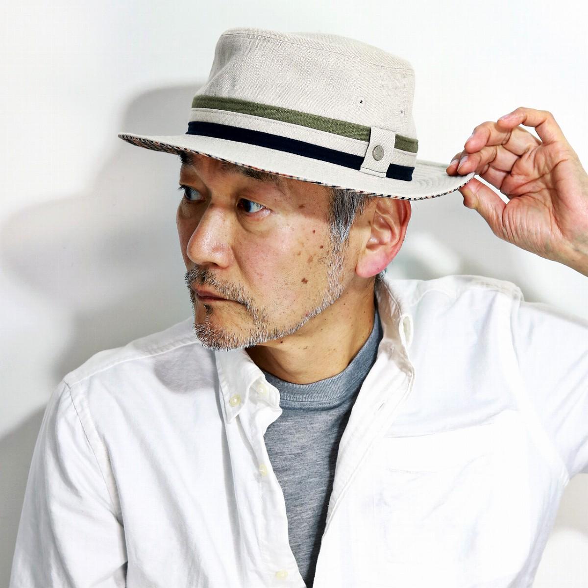 ダックス ハット メンズ 春 夏 帽子 大きいサイズ 61cmあり サファリハット 麻 リネン daks バケットハット M L XL 3Lイギリス ブランド ハット 紳士 サイズ調整機能付き チェック ナチュラル [ bucket hat ]父の日 プレゼント ギフト ラッピング無料