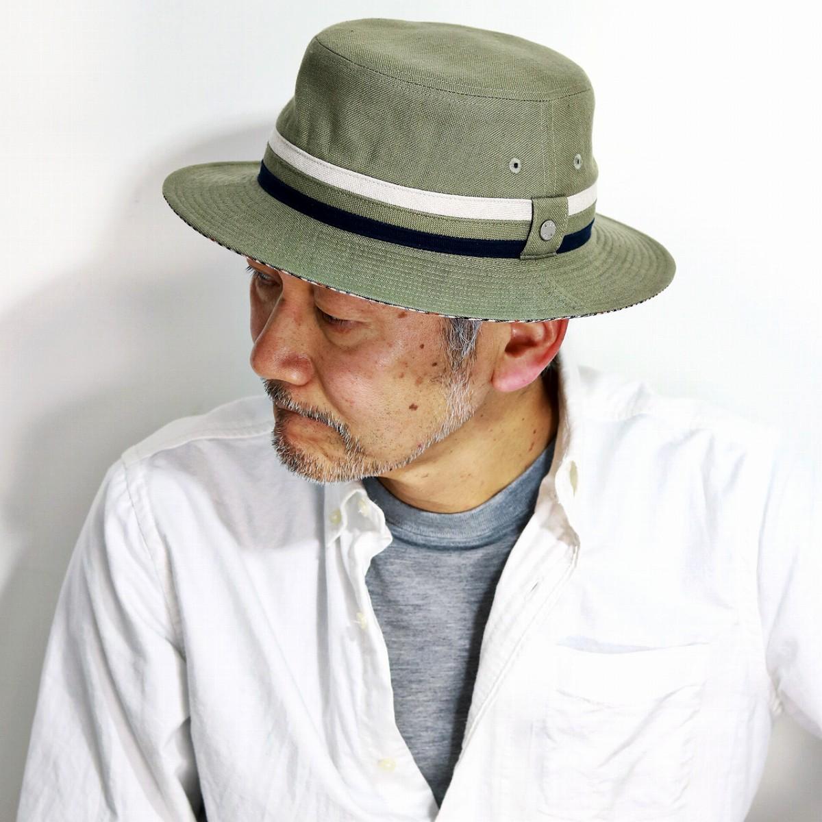 サファリハット 日よけ メンズ 春 夏 大きいサイズ DAKS 帽子 麻 無地 リネン ダックス バケットハット daks イギリス ブランド サハリハット 紳士 M L XL 3L サイズ調整 チェック カーキ[ bucket hat ]父の日 プレゼント ギフト ラッピング無料
