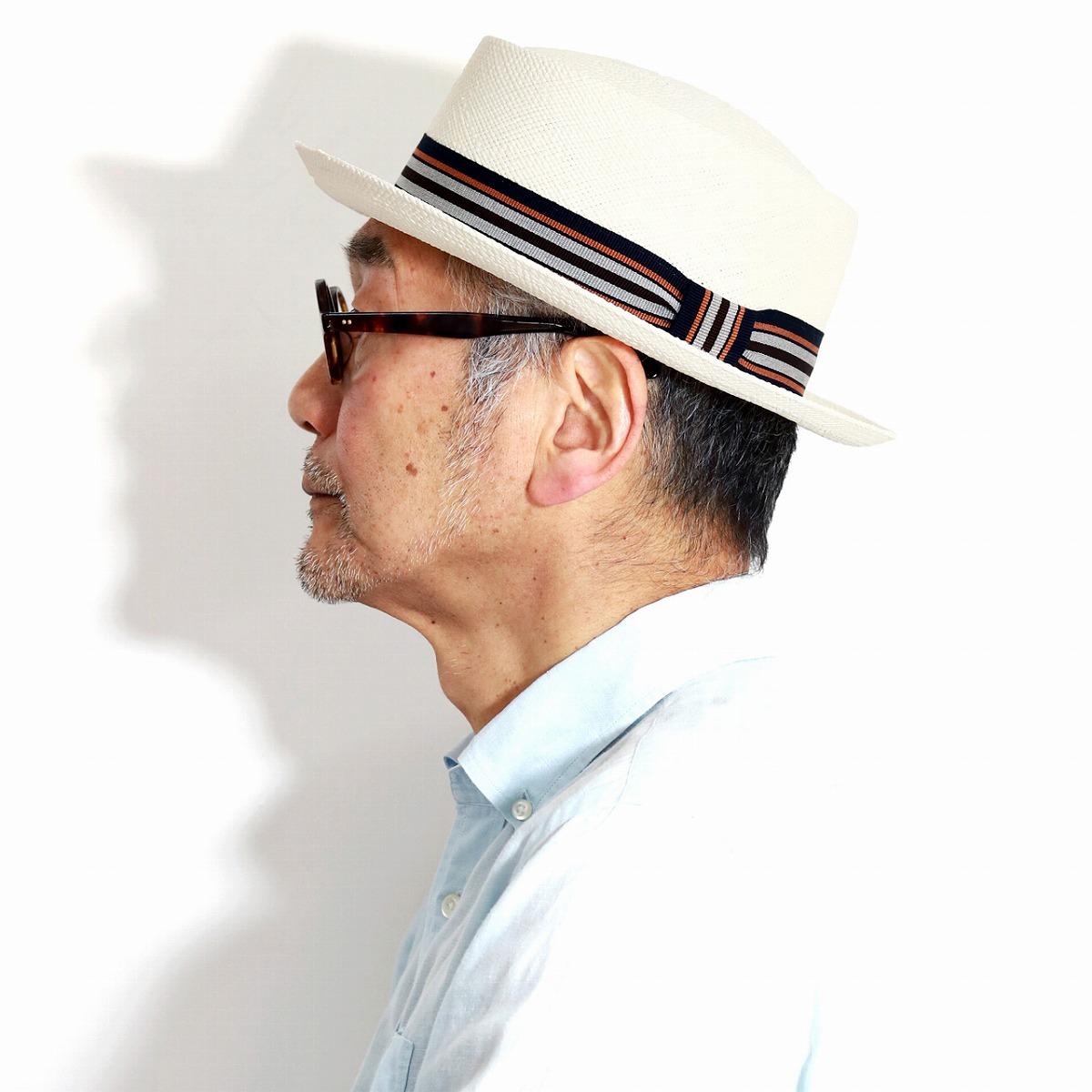 パナマハット イタリア製 春 夏 帽子 GALLIANO SORBATTI ポークパイハット メンズ パナマ帽 ハット ガリアーノソルバッティ ストライプリボン ブリーチ 白 [ panama hat ] [ pork-pie hat ] 父の日 ギフト 男性 帽子 紳士 30代 40代 50代 60代 ファッション お洒落