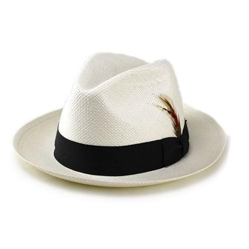 パナマハット ニューヨークハット 帽子 エクアドル産 本パナマ メンズ パナマ帽 紳士 ストローハット レディース 麦わら帽子 本パナマ100% New York Hat 中折れハット 30代 40代 50代 60代 ファッション 56cm 58cm 60cm / オフホワイト 白 [ panama hat ][ fedora ]