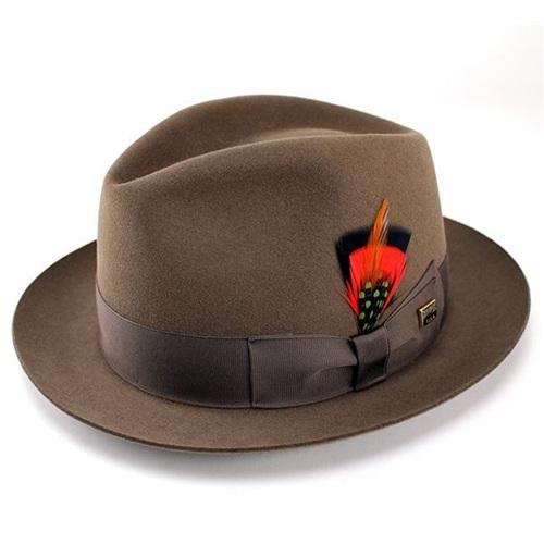 KNOX ノックスブランドラビットファーフェルト100%高級中折れHAT ブラウン 茶 [fedora] 送料無料 (高級 メンズ ハット 紳士 中折れ帽 日本製 帽子 プレゼント 男性 上品 帽子 ギフト ブランド ファッション 小物) フェルトハット フェルト ハット