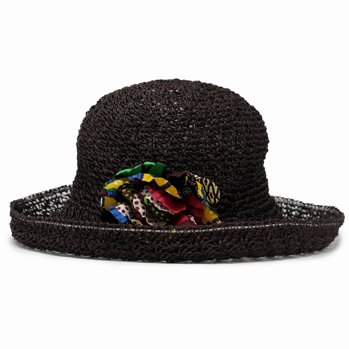 ギフト 麦わら帽子 夏コーデ 通気性 帽子 カンガコサージュ [ straw hat ] cableami 日よけ ラッピング無料 涼しい 母の日 ケーブルアミ マニラ麻 帽子 プレゼント ストローハット レディース ブラウン 茶 つば広ハット ファッション リゾート [ wide-brim hat ] コーデ