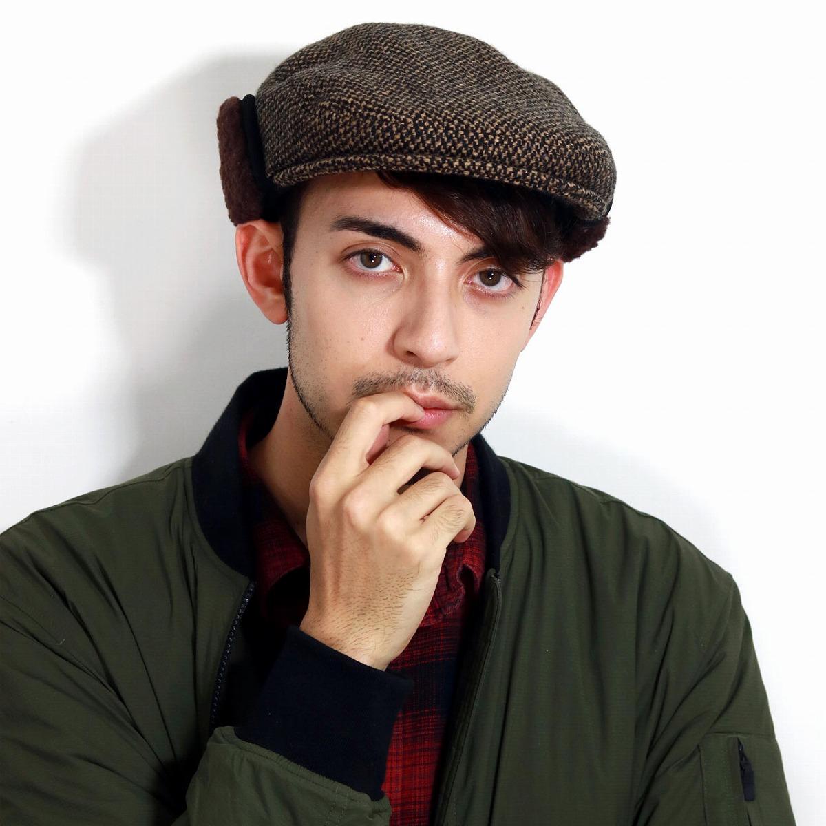 ハンチング 耳当て 日本製 紳士 温かい ボア イヤーマフ メンズ 防寒 イヤーフラップ 茶 帽子 ウィンタースポーツ 海外旅行 アウトドア ぼうし 狩猟帽 / ブラウン[ ivy cap ]